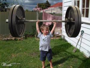 weight lifting super strong kid